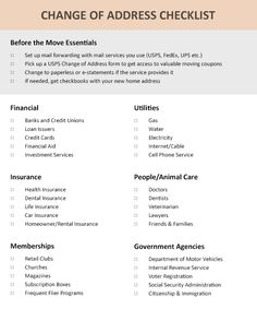 Free moving checklist printable this change of address template change of address checklist update your home address for the following list of services and businesses wajeb Choice Image