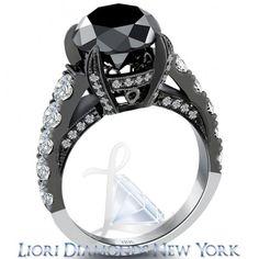 5.53 Carat Vintage Style Natural Black Diamond Engagement Ring 18k Black Gold - Black Diamond Engagement Rings - Engagement - Lioridiamonds.com