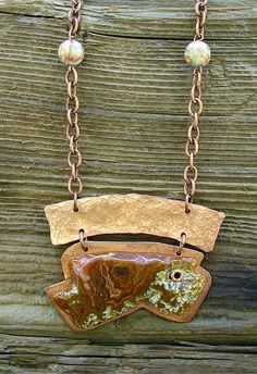 Stone and Copper Pendant with Stone Beads on by RusticSpoonful