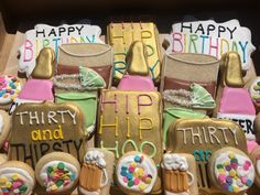 Thirty and Thirsty Birthday Decorated Cookies