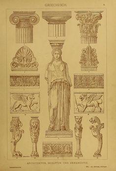 Architecture, sculpture & ornement - Style de la Grèce antique - Au centre est représentée une Cariatide (ou Caryatide).