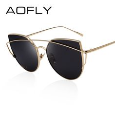 AOFLY Women Cat Eye Sunglasses Fashion Lady Brand Designer Twin-Beams Sunglasses Summer Mirror Metal Shades With Original Box