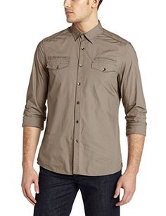 Kenneth Cole Mens Solid Military Shirt, Latte, X-Large