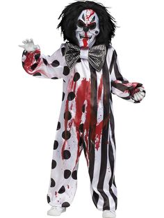 Dare to scare this Halloween with this Bleeding Killer Clown Boys Costume. Once you don this costume, it is sure to cut the laughter! This scary costume has it all! This costume comes with the jumpsuit, mask that pumps blood and the bow tie. Scary Halloween Costumes, Boy Costumes, Costume Ideas, Halloween Halloween, Halloween College, Halloween Makeup, Children Costumes, Halloween Recipe, Halloween Decorations