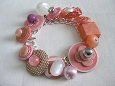Vintage Pink Button Charm Bracelet by myvictoriancottage on Etsy, $34.00