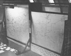 Some map boards at RAF West Kingsdown.