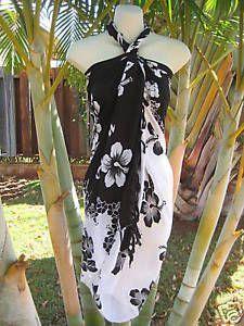 Women-Sarong-White-Black-Summer-Beach-Bikini-Coverup-Pareo-Hawaiian-Luau-Dress