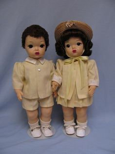 "16"" 1954 Terri Lee & Jerri Lee Twins Darling PIQUE SUITS Hard Plastic - All Original Tagged Outfits"