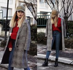 Melike G. - Red Knit & Plaid Coat