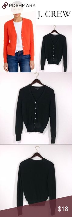 J. Crew Black Ribbed Cotton Cardigan Sweater ✔️100% Cotton ✔️V-Neck ✔️No Holes, Stains or Damages ✔️1613-6 J. Crew Sweaters Cardigans