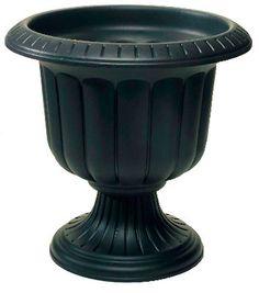 "(2) Novelty Mfg 38148 14"" Black Classic Porch Urn Plastic Planters"
