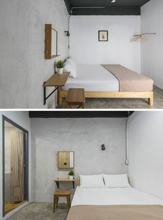 This modern hostel in Bangkok, has a simple neutral color palette paired with concrete walls.