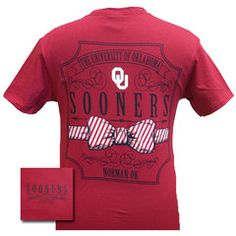 New Oklahoma Boomer Sooners Prep Pattern Bow Girlie Bright T Shirt | SimplyCuteTees