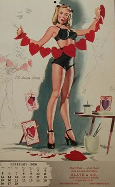 """Vintage pin-up calendar from February 1950, """"I'll String Along""""  artist unknown, my guess is Bill Randall."""