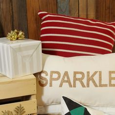 Sparkle Glitter Pillow in Gold.