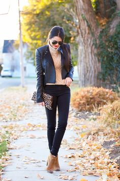 Sweater: J.Crew | Jacket: BCBG ℅ (similar style, on sale!) | Pants: Citizens | Booties: Dolce Vita | Clutch: Clare Vi...