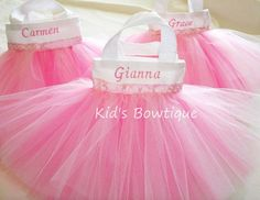 Monogrammed Set of 6 Pink with Polka Dots Ribbon Party Favor Tutu Bags via Etsy