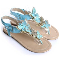 lovely butterfly thongs Blue Sandals, Beautiful Butterflies, Retail Therapy, Butterfly, Plus Size, Thongs, Stuff To Buy, Spring, Products