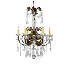 Wildwood Lamps 6-Light Chandelier w.Crystal Drops in Ceiling Lights, Chandeliers, Indoor Chandeliers: ProgressiveLighting.com