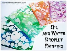 Teaching Matter and Mixtures with Oil and Water Painting Oil and water droplet painting is the result of mixing cooking oil and colored water to create a beautiful, slightly marbleized effect…or you can invite your kids to help you make some of your own. Kids Crafts, Crafts For Teens To Make, Preschool Crafts, Projects For Kids, Art For Kids, Art Children, Water Theme Preschool, Art For Toddlers, Preschool Art Lessons