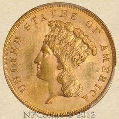 1862 Three Dollar Gold Indian MS64 PCGS, obverse
