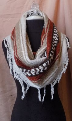 Rusty Red Orange Mexican Blanket Large Cowl Scarf With Fringe