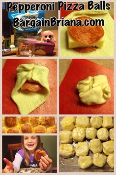 Vegetarian (Spinach and cheese) Pizza Balls & Pepperoni Pizza Balls. Use your imagination with these.