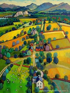 Landscape Paintings and photographs : JIM EDWARDS Plas Canol to the Moelwyns (Snowdonia North Wales) Art And Illustration, Landscape Art, Landscape Paintings, Arte Country, Art Populaire, Naive Art, Art For Art Sake, Art Design, Painting Inspiration