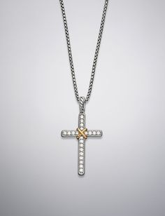 Cable Collectibles Cross Necklace, Pave Diamonds, 17
