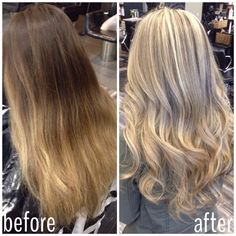 Before and after going from ombré back to blonde. Blonde highlights done by stylist Shanae Preston.