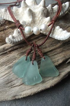 Sea glass jewelry Sea Glass and Freshwater by byNaturesDesign, $22.00