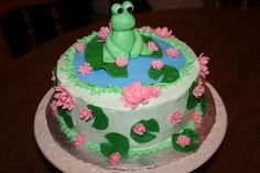 Frog And Lily Pads Baby Shower Cake