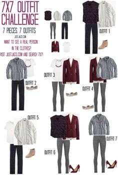 7x7 Outfit Challenge. Creating 7 outfits from only 7 pieces! Remixable wardrobe for the fall!