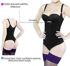 74e8390a8209b Camellias Women s Seamless Firm Control Shapewear Faja Open Bust Bodysuit Body  Shaper Black