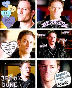 Gadreel GIFSET #HadToPin #HeShouldNeverPlayPoker Gadreel is 3000% done with your bullshit, Metatron.