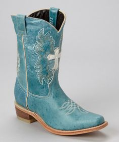 Love this Turquoise & White Cross Leather Cowboy Boot - Kids by Pecos Bill on #zulily! #zulilyfinds