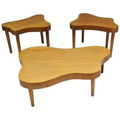 Rare in the Style of Paul Laszlo Matched Set Cerused Tables Californian Studio | From a unique collection of antique and modern coffee and cocktail tables at https://www.1stdibs.com/furniture/tables/coffee-tables-cocktail-tables/