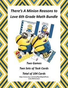 Here's the product that will show your students there's a minion reasons to love sixth grade math. This bundle has 2 Bingo Games and 104 math task cards to provide review and fun in some very important CCSS skills. Included is a game for solving equations using all four operations, a game that reviews understanding integers, absolute value and opposite integers, cards to review comparing integers, and a collection of 64 cards that address the least common multiple and the gcf.