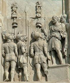 Relief celebrating the campaign of emperor Trajan against the Dacians reused on the arch of Constantine