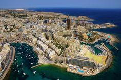 Vue aérienne de St. Julian's, Malte.