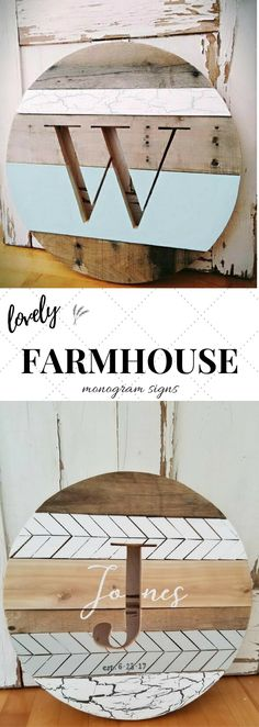 Love this monogram sign! Perfect for a #farmhousestyle room! Such a beautiful way to display the family name. #rusticdecor #farmhousedecor #walldecor #woodsigns #livingroomideas #kitchendecor #affiliate
