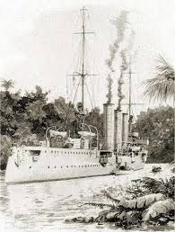German light cruiser SMS Konigsberg - sunk in the Rufiji delta (now part of Tanzania) in 1915 in a celebrated episode that involved aerial spotting for British naval gunfire. Naval History, Military History, German East Africa, Navy Ships, World War One, Ship Art, War Machine, Water Crafts, Battleship