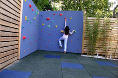 outdoor kids climbing wall (wouldn't have to be purple) Backyard Play Spaces, Backyard Playground, Backyard For Kids, Backyard Ideas, Garden Ideas, Backyard Toys, Outdoor Ideas, Garden Projects, Fence Ideas