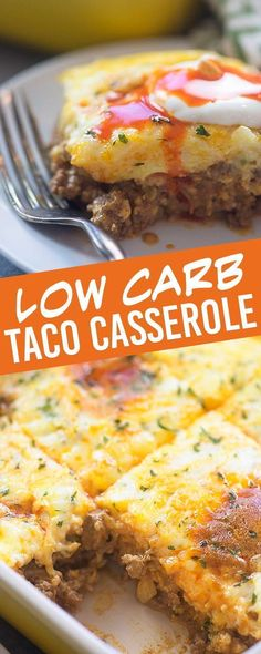 Low Carb Taco Casserole - just 5 carbs per. Low Carb Taco Casserole - just 5 carbs per serving and totally satisfies that Mexican craving Taco Casserole Low Carb, Low Carb Casseroles, Low Carb Breakfast Casserole, Casserole Recipes, Brunch Casserole, Taco Bake, Mexican Casserole, Low Carb Dinner Recipes, Keto Recipes