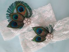 Peacock Wedding Garter Set Ivory Lace Garters by GibsonGirlGarters