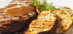 New York grilled steak with brown butter and balsamic cream Grilling Recipes, Beef Recipes, Grilled Potato Recipes, Ricardo Recipe, Steak Butter, Campfire Food, Butter Recipe, Brown Butter, Potatoes