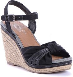 248d364f28df ... Women Casual Comfortable Wedge Sandals Summer Spring Trendy Fashion  Medium Heel Black Synthetic Leather Memory Foam Size 5  Amazon.ca  Shoes    Handbags
