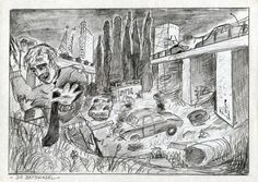 "Die Betoninsel (Concrete Island), ca.1982 by J.G.Wind - Illustration for J.G.Ballard's novel ""Concrete Island""."