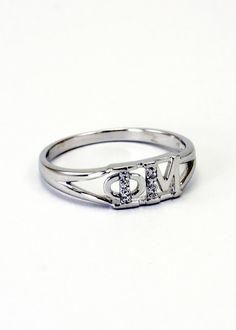 Phi Mu Sterling Silver Ring set with Lab-Created Diamonds on Etsy, $35.00