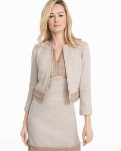 Neutral Tweed Suit Jacket